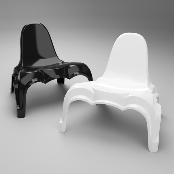 Époque chair in glossy black and white